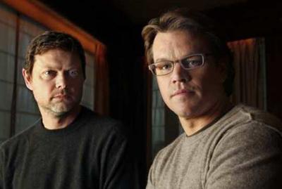 George Nolfi & Matt Damon, copyright BEHINDTHESCENESTV.NET